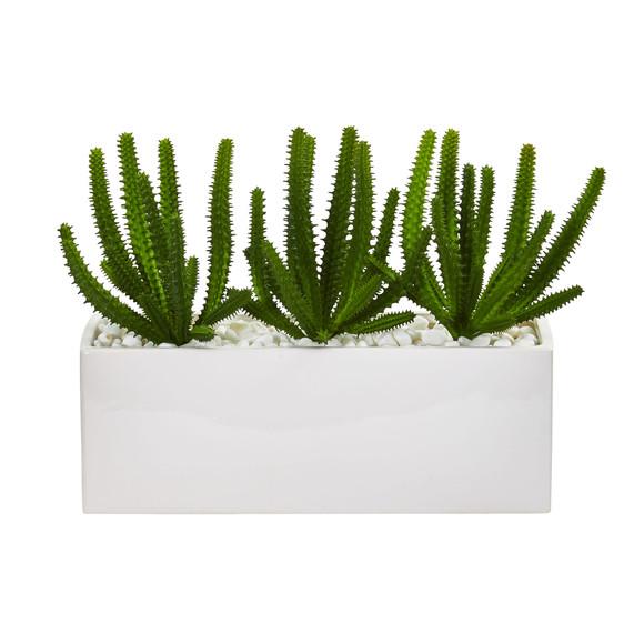 Finger Cactus Artificial Plant in White Vase - SKU #8511