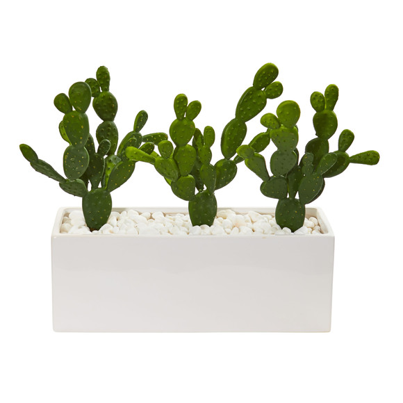 11 Cactus Succulent Artificial Plant in Glazed White Vase - SKU #8512