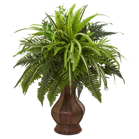 26 Mixed Greens and Fern Artificial Plant in Decorative Planter - SKU #8518