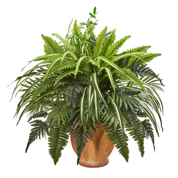 23 Mixed Greens and Fern Artificial Plant in Terra Cotta Planter - SKU #8519