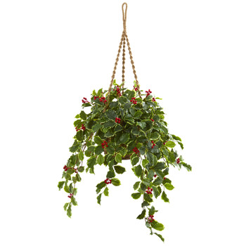 40 Variegated Holly with Berries Artificial Plant in Hanging Basket Real Touch - SKU #8520