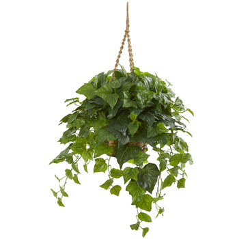38 London Ivy Artificial Plant in Hanging Basket Real Touch - SKU #8521