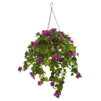 3 Mixed Stephanotis and Bougainvillea Artificial Plant in Hanging Cone - SKU #8522