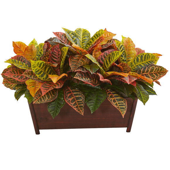Croton Artificial Plant in Decorative Planter Real Touch - SKU #8524