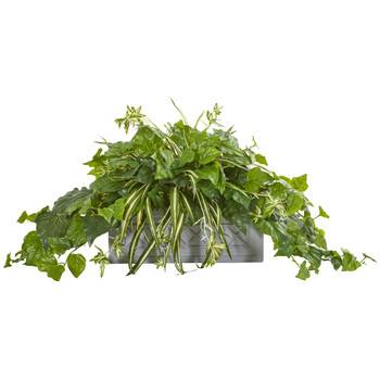 London Ivy and Spider Artificial Plant in Stone Planter - SKU #8525