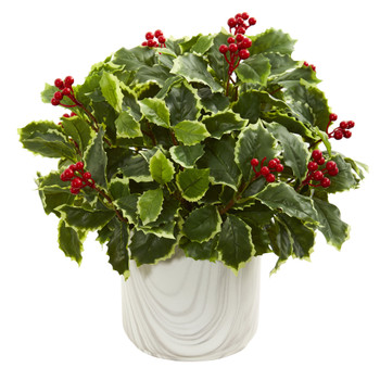 Variegated Holly Leaf Artificial Plant in Vase Real Touch - SKU #8527