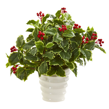Variegated Holly Artificial Plant in White Vase Real Touch - SKU #8529