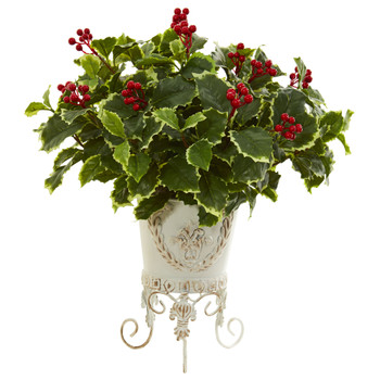 Variegated Holly Artificial Plant in Metal Planter Real Touch - SKU #8530