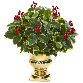16 Holly Leaf Artificial Plant in Gold Urn Real Touch - SKU #8531