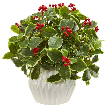 15 Holly Leaf Artificial Plant in White Vase Real Touch - SKU #8532