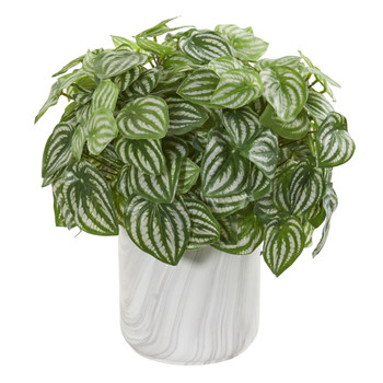 Peperomia Artificial Plant in Marble Finished Vase Real Touch - SKU #8533