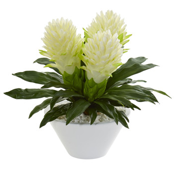 17 Ginger Artificial Plant in White Vase - SKU #8535