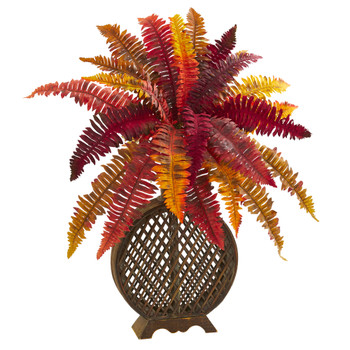 30 Autumn Boston Fern Artificial Plant in Weave Planter - SKU #8537