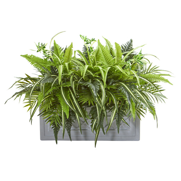 Mixed Greens and Fern Artificial in Stone Planter - SKU #8538