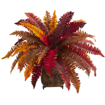Autumn Boston Fern Artificial Plant in Metal Planter - SKU #8539