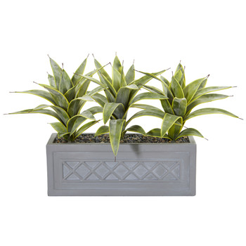 Sanseveria Artificial Plant in Stone Planter - SKU #8540
