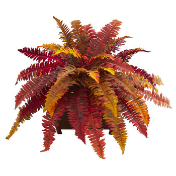 Autumn Boston Fern Artificial Plant in Planter - SKU #8541