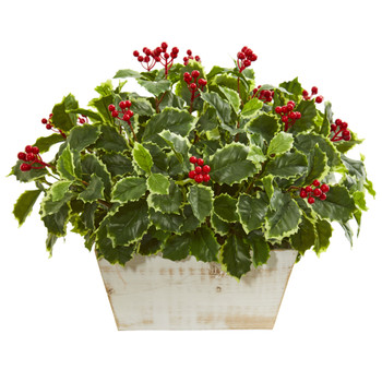 Variegated Holly Leaf Artificial Plant Real Touch - SKU #8542