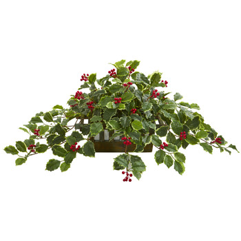 37 Variegated Holly Leaf Artificial Plant in Planter Real Touch - SKU #8543