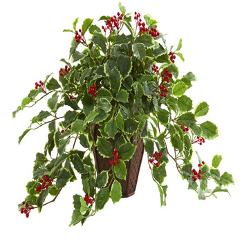 18 Variegated Holly Artificial Plant in Decorative Planter Real Touch - SKU #8544