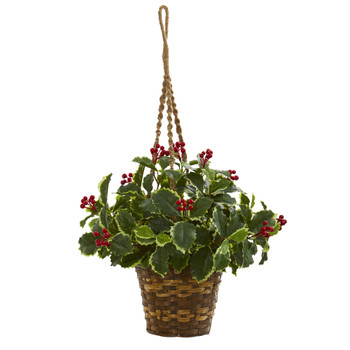 26 Variegated Holly Artificial Plant in Hanging Basket Real Touch - SKU #8545