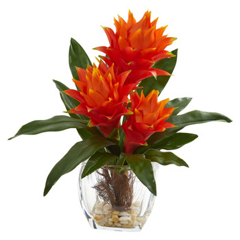 14 Bromeliad Artificial Plant in Tapered Vase - SKU #8547