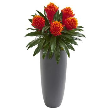 31 Bromeliad Artificial Plant in Gray Planter - SKU #8552