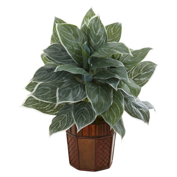 25 Aglonema Artificial Plant in Decorative Planter Real Touch - SKU #8553