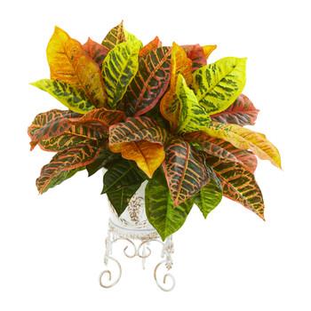 Garden Croton Artificial Plant in White Planter Real Touch - SKU #8554