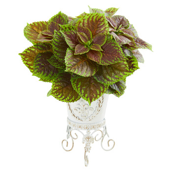 Coleus Artificial Plant in White Planter Real Touch - SKU #8556