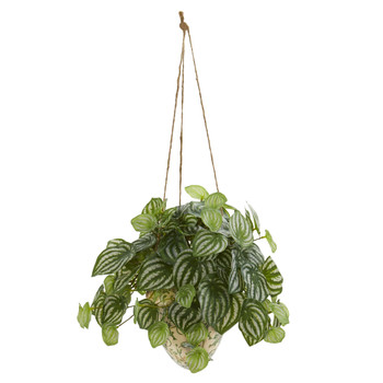 24 Watermelon Peperomia Artificial Plant in Hanging Vase Real Touch - SKU #8560