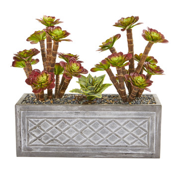 23 Echeverria Succulent Artificial Plant in Stone Planter - SKU #8562