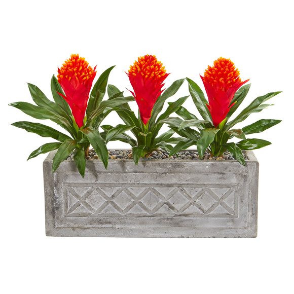 20 Bromeliad Artificial Plant in Stone Planter - SKU #8564