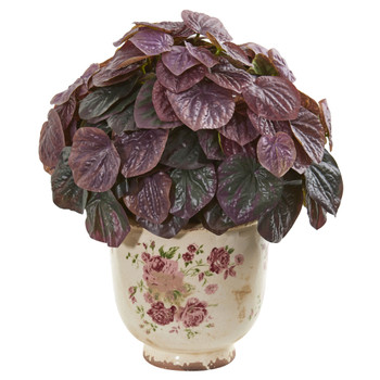 14 Peperomia Artificial Plant in Flower Print Planter Real Touch - SKU #8569
