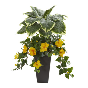 32 Hosta and Hibiscus Artificial Plant in Black Vase - SKU #8571