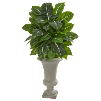 35 Evergreen Artificial Plant in Sandstone Urn Real Touch - SKU #8577