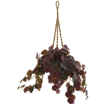 34 Peperomia Artificial Plant in Hanging Basket Real Touch - SKU #8579