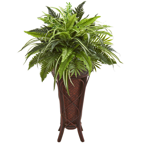 32 Mixed Greens and Fern Artificial Plant in Decorative Stand - SKU #8581