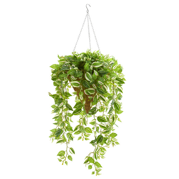 48 Wandering Jew Artificial Plant in Hanging Basket Real Touch - SKU #8583
