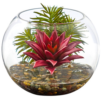 Mixed Succulent Artificial Plant in Round Glass Vase - SKU #8589