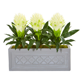 Bromeliad Artificial Plant in Stone Planter - SKU #8590