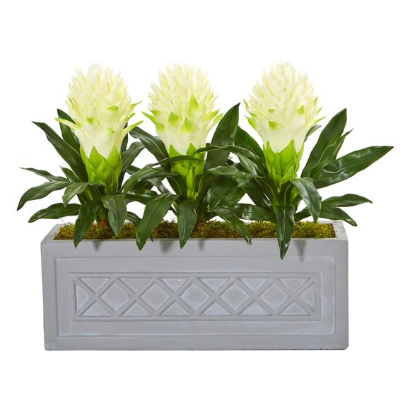 Bromeliad Artificial Plant in Stone Planter - SKU #8590