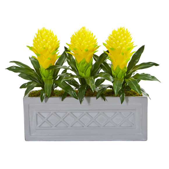 Bromeliad Artificial Plant in Stone Planter - SKU #8590-YL