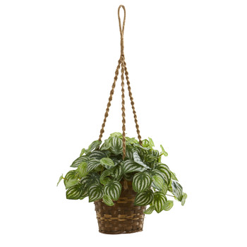 Watermelon Peperomia Artificial Plant in Hanging Basket Real Touch - SKU #8591