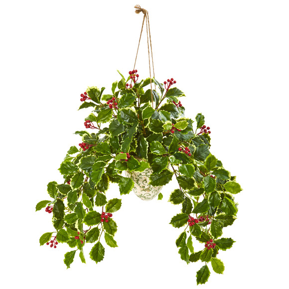 30 Variegated Holly Berry Artificial Plant in Hanging Vase Real Touch - SKU #8592 - 1