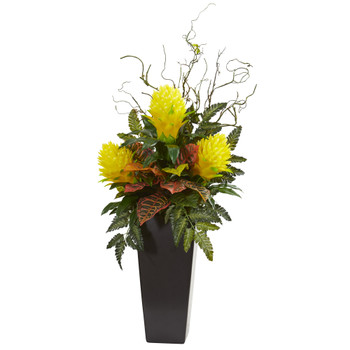 42 Bromeliad and Croton Artificial Plant in Black Vase - SKU #8593-YL