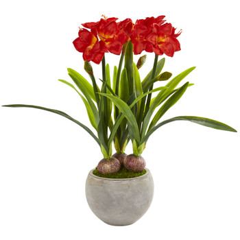 Amaryllis Artificial Plant in Sandstone Bowl - SKU #8594-RD