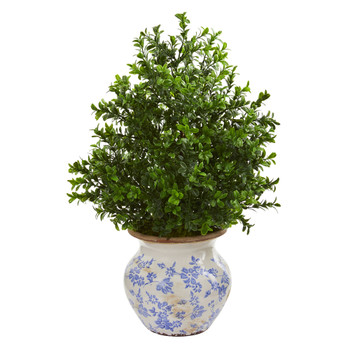 21 Boxwood Artificial Plant in Decorative Vase Indoor/Outdoor - SKU #8596
