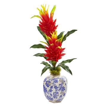 29 Dragon Fruit Flower Artificial Plant in Marine Print Vase - SKU #8597