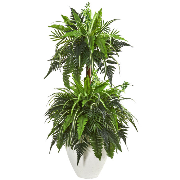 44 Mixed Greens and Fern Artificial Plant in White Planter - SKU #8603